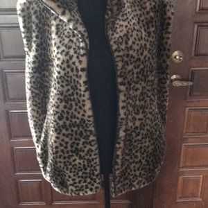 Bloomingdales faux fur animal print vest!